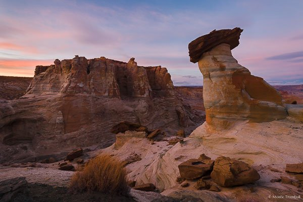Stud Horse Point basks in a sunset glow outside of Page, Arizona.