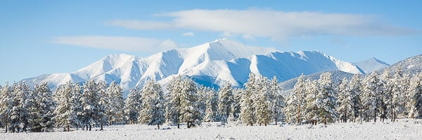 A fresh coating of spring snow blankets Mt. Princeton outside of Buena Vista, Colorado.